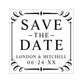 Save the Date | Classic Elegance Rubber Stamp