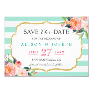Save The Date | Classy Mint Green Stripes Floral 13 Cm X 18 Cm Invitation Card