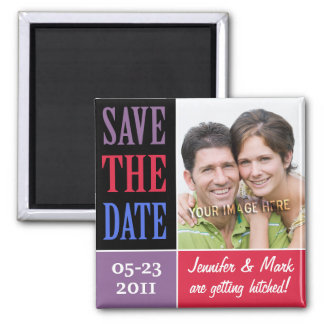 Save the Date Color Blocks Photo Magnet