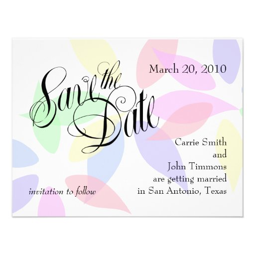 Save the Date Colorful Flower Petals Set 1024 Personalized Invitation