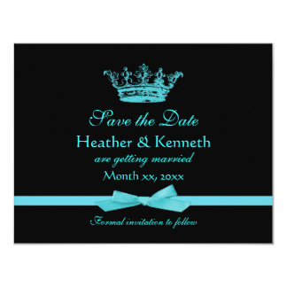 Save the Date Crown Blue Card