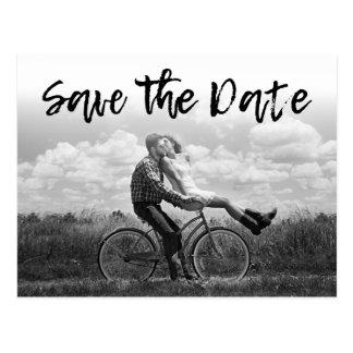 SAVE THE DATE | Cursive Photo Wedding Invitations Postcard