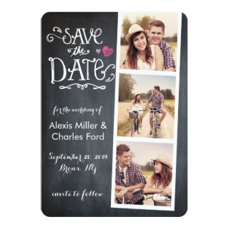 Save the Date | Curved Type Chalkboard Card