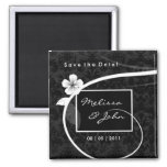 Save the Date Custom Floral Magnet Black White