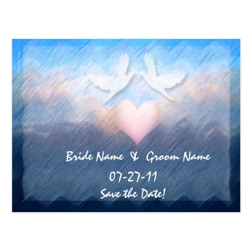 Save the Date Custom Heart Doves Ocean Abstract  Post Card
