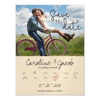 Save the Date, Custom Photo, Modern Script, Heart Magnetic Card