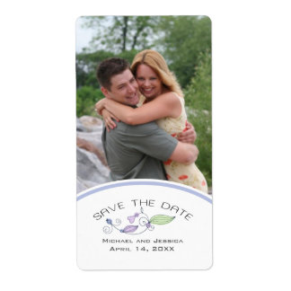 Save the Date Custom Photo Wine Label Shipping Label