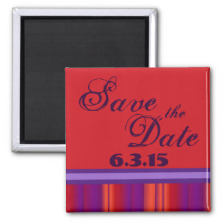 Save the Date custom red orange purple magnet
