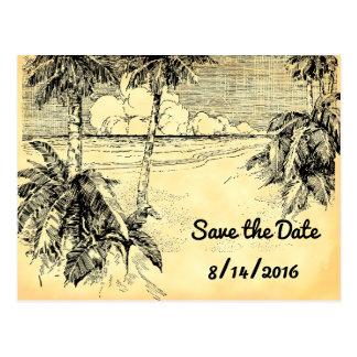 Save the Date Custom Vintage Beach Postcard