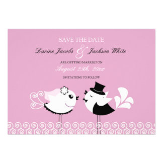 Save The Date Cute Birds Flat Card