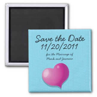 Save the Date Cute Love Heart square Square Magnet