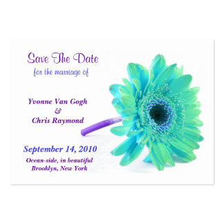 Save The Date Daisy Blue Green I Business Card