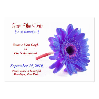 Save The Date Daisy Blue Purple I Business Card Templates