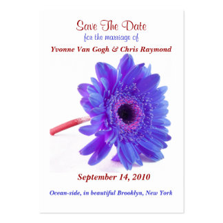 Save The Date Daisy Blue Purple Pack Of Chubby Business Cards