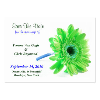 Save The Date Daisy Light Green Blue I Business Card Template