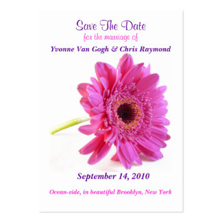 Save The Date Daisy Pink Business Card Template