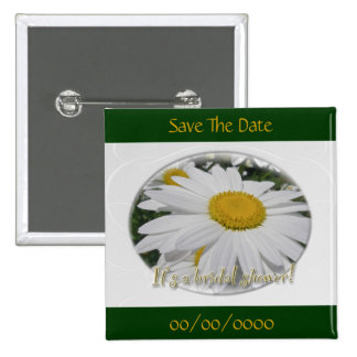 Save the Date Daisy Wildflower Bridal Shower 15 Cm Square Badge