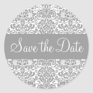 Save the Date Damask Envelope Sticker Seal