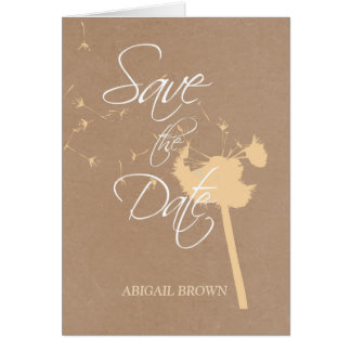 Save the Date, Dandelion on Natural Brown Card