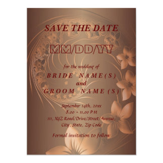 Save the Date - Dark Brown Abstract Flowers Invites