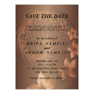 Save the Date - Dark Brown Abstract Flowers 17 Cm X 22 Cm Invitation Card