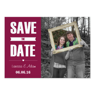 Save the Date Dark Pink Retro with Couples Photo Card