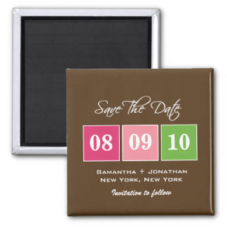 Save The Date: Date Blocks - Fuchsia Green Square Magnet