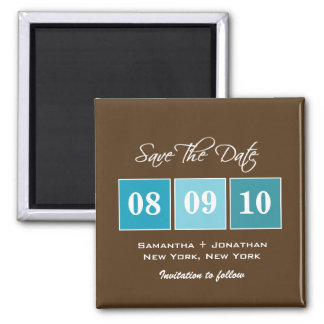 Save The Date: Date Blocks - Turquoise Square Magnet
