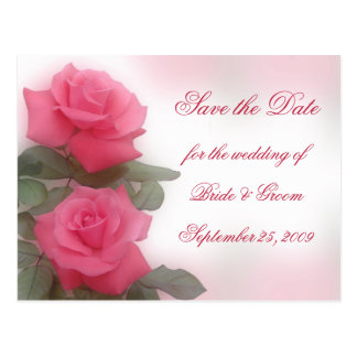 Save the Date - Deep Pink Roses Postcard