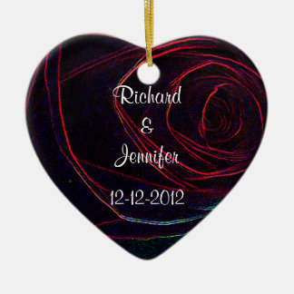 Save the Date-Deep Red Rose Heart Christmas Tree Ornaments