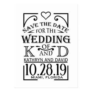Save the Date design with creative lettering. Postcard