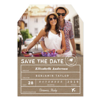 Save The Date Destination Luggage Tag Photo Card 13 Cm X 18 Cm Invitation Card