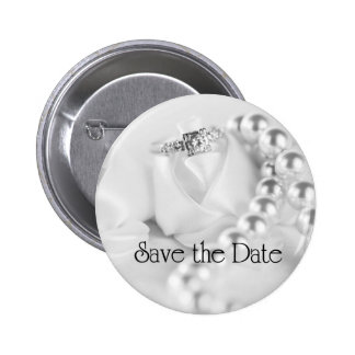 Save the Date Diamon Engagement Ring Pinback Button