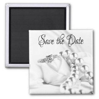 Save the Date Diamon Engagement Ring Fridge Magnet