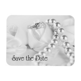 Save the Date Diamon Engagement Ring Rectangle Magnet