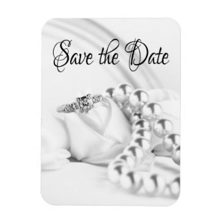 Save the Date Diamon Engagement Ring Rectangular Photo Magnet