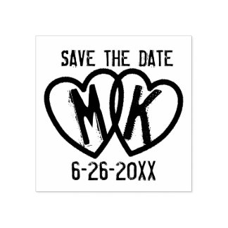 Save The Date DIY Wedding Monogrammed Hearts Stamp