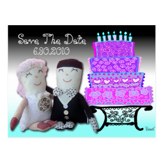 Save The Date Doll Cake Wedding Postcard