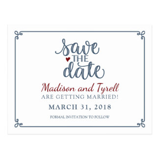 """""""Save the Date"""" - Dusty Blue & Dark Red Postcard"""
