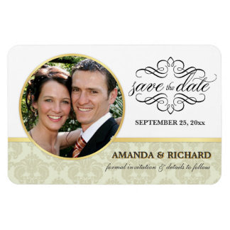 Save the Date - Ecru Damask Photo Magnets