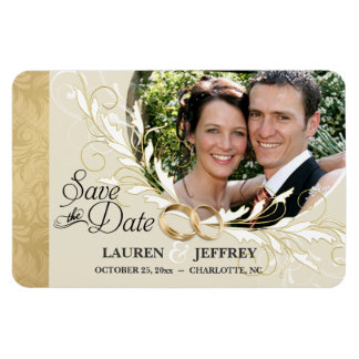 Save the Date - Ecru & Gold Damask Photo Magnets