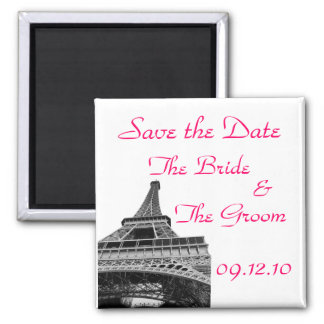 Save the Date Eiffel Tower Square Magnet