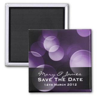 Save The Date Elegant Lights Custom Purple Square Magnet