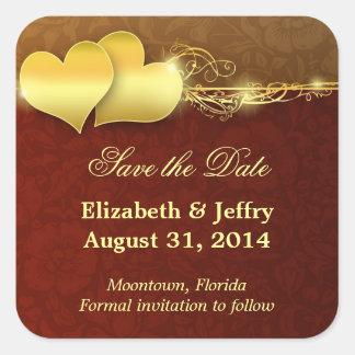 save the date elegant modern golden hearts sticker
