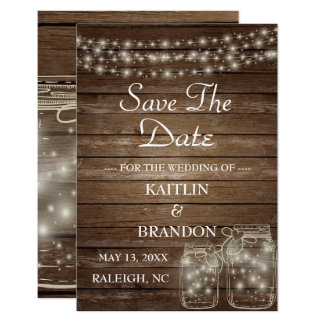 Save the Date Elegant Rustic Mason Jar Lights Card