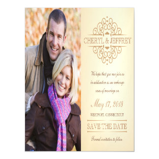 Save the Date Elegant Scroll Vintage Wedding Photo Magnetic Invitations