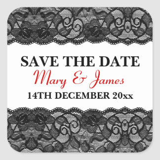 Save The Date Elegant Vintage Black Lace Red Square Sticker