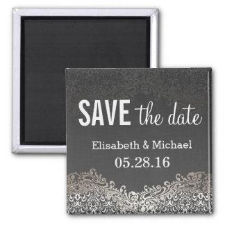 Save the Date - Elegant Vintage Dark Silver Damask Square Magnet