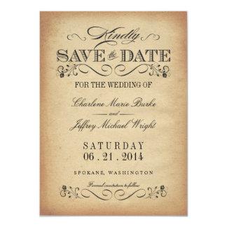 Save the Date - Elegant Vintage Parchment 11 Cm X 16 Cm Invitation Card