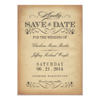 Save the Date - Elegant Vintage Parchment Card